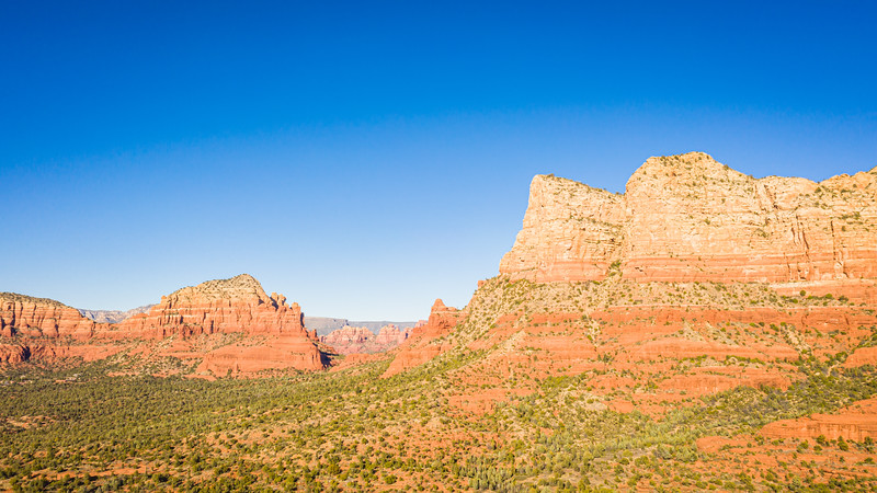 Aerial image of Bell Rock and Courthouse Butte in Sedona, Arizona
