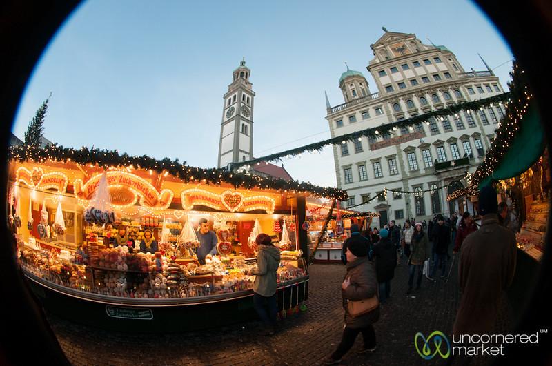 Augsburg Christmas Market in Fisheye  - Bavaria, Germany