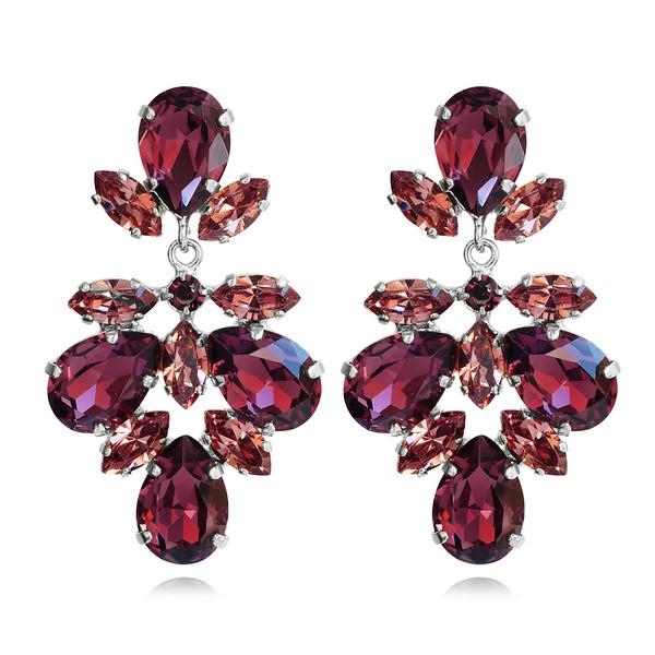 Selene Earrings / Burgundy + Rose Blush / Rhodium