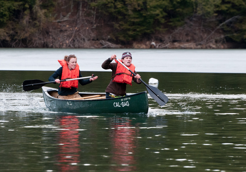 Annie Laurie Mauhs-Pugh and Laurel(?) in doubles canoeing. Woodsmen's Weekend at Dartmouth, 2015.