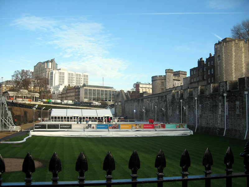 The Tower moat, which has been filled, now includes a private ice rink.