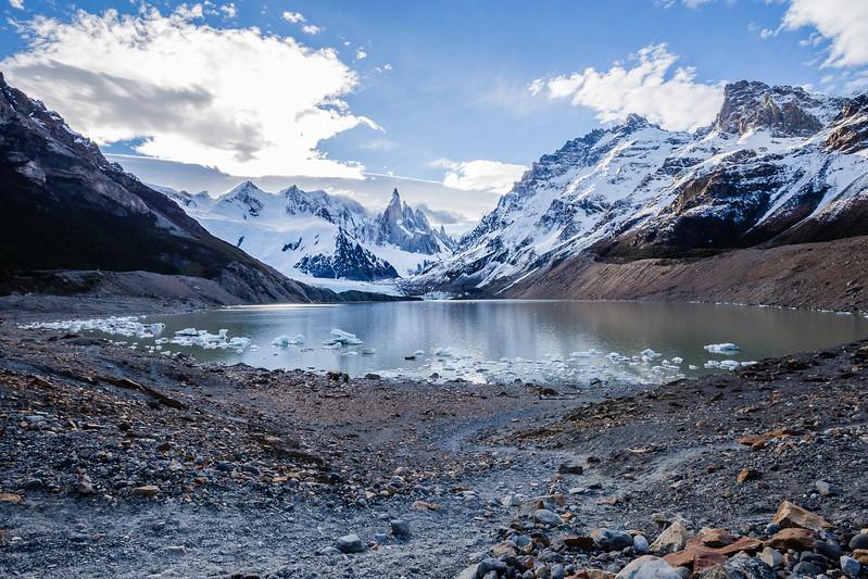 Hiking in Patagonia Laguna Torre Lina Stock
