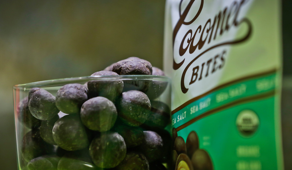 . Cocomel coconut chocolate bites are unveiled at a press preview among the 2017 Sofi specialty foods product, Thursday, June 22, 2017, in New York. The product is among thousands of food and beverage items from more than 2,600 food artisans, importers and entrepreneurs from the around the globe at the annual Summer Fancy Food Show at the Javits Center. (AP Photo/Bebeto Matthews)