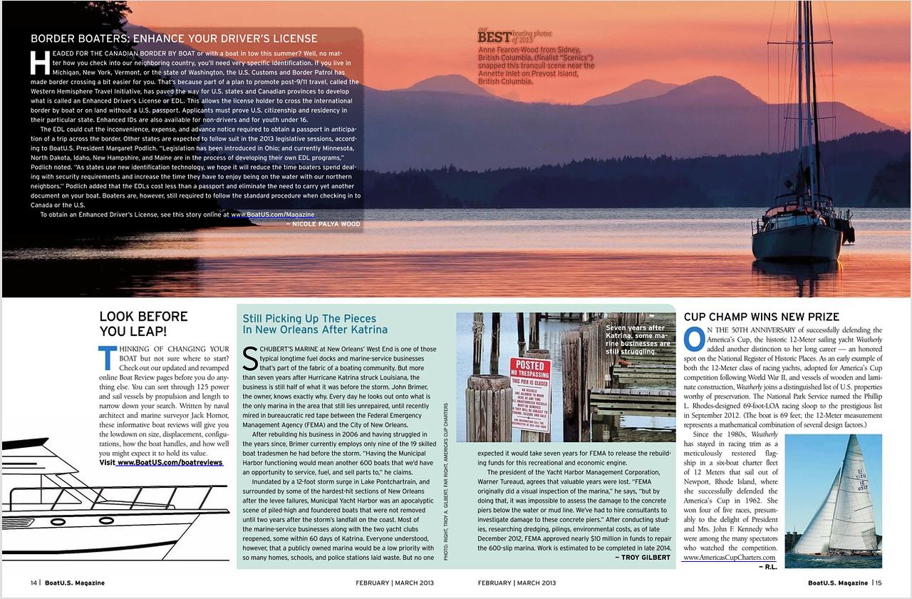 2013 February/March issue. Finalist Scenics for BoatUS Magazine photo contest. Canada/US
