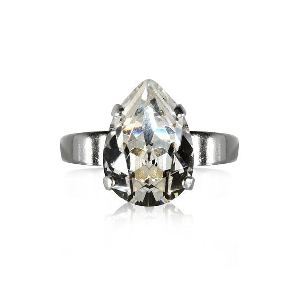 Mini Drop Ring / Crystal Rhodium
