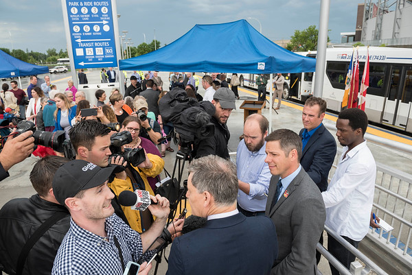 Mayor of Winnipeg Brian Bowman in a scrum at the opening of Stadium Station, the first piece of the Southwest Transitway Stage 2,  Tuesday July 4, 2017. (David Lipnowski for Metro News)