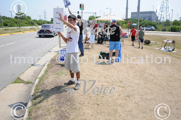 Northern Illinois Jobs with Justice rally with International Association of Machinists (IAM) at Caterpillar, Inc. in Joliet, IL 7-14-12