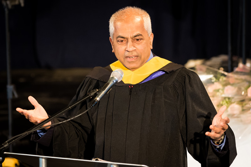 Chairman and President of TurboCam International Marian Noronha speaks to graduating students during the Portsmouth Christian Academy at Dover graduation held at Bethany Church in Greenland Friday. [Scott Patterson/Fosters.com]
