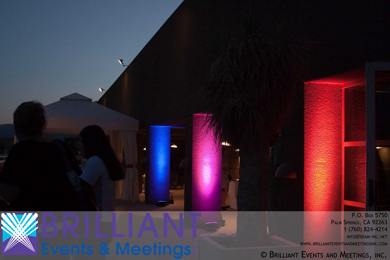 These fixtures were placed outdoors to create a ambiance on the outdoor patio.  In this case, we set them to do a slow color fade throughout the evening.  We could have also set each fixture to a static color.