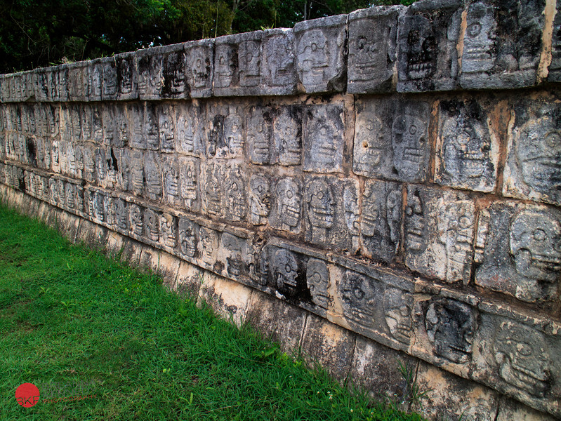 A wall of skulls at Chichen Itza  This is the platform where the Mayas would stake heads to intimidate visitors
