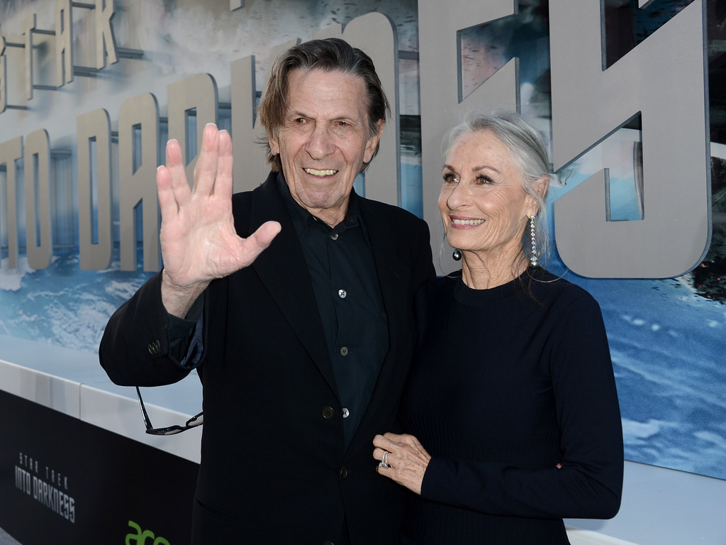 """. Actor Leonard Nimoy (L) and wife Susan Bay arrive at the Premiere of Paramount Pictures\' \""""Star Trek Into Darkness\"""" at Dolby Theatre on May 14, 2013 in Hollywood, California.  (Photo by Kevin Winter/Getty Images for Paramount Pictures)"""