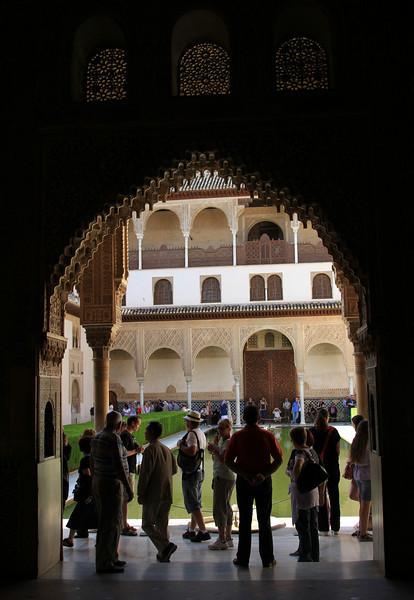 Archway inside Palacio Nazaries, Alhambra, Granada.