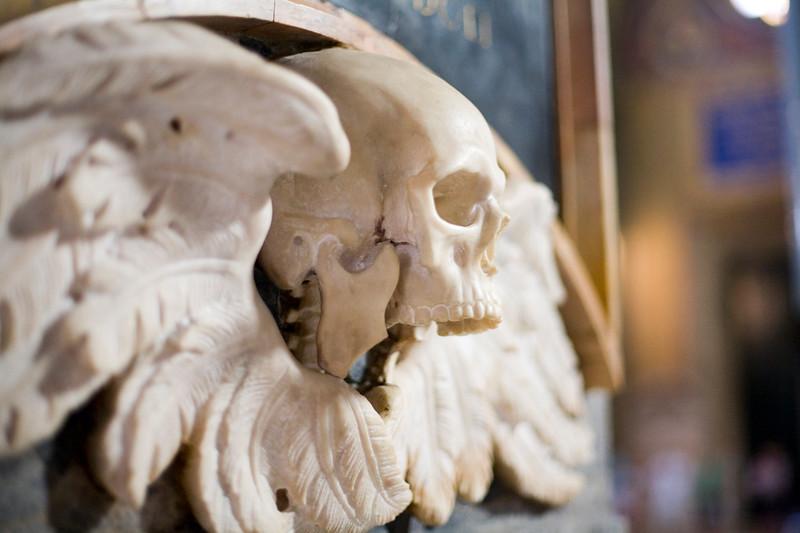 Winged skull sculpture, Santa Maria Sopra Minerva Basilica, Rome