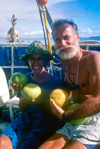 Tracy and Mike of FALLS OF CLYDE.  We had never met them in person before, but had spoken for last 2 months over the  the ham radio Paradise Net.  Speaking daily as we sailed from Mexico to the Marquesas and now to Ahe, we had become fast friends. And now we finally got to meet them.