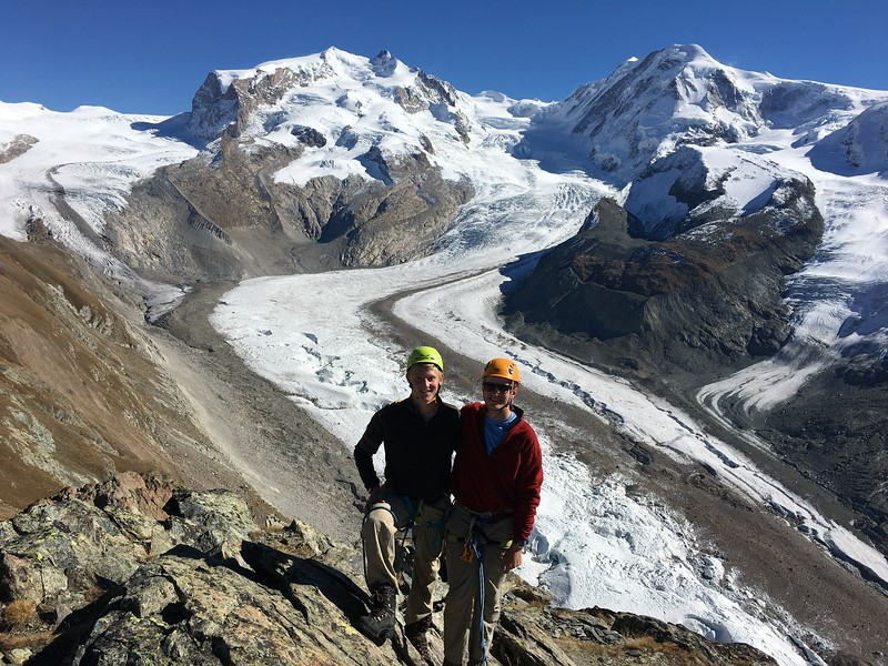 John and Cap with Monte Rosa, Liskamm, and Gornerglacier behind