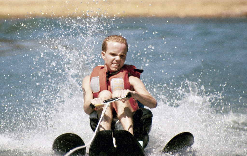 . Phillip Bennett is shown water skiing in spite of suffering from a degenerative muscular disease. He died in 2011. (Courtesy of Valerie Bennett)