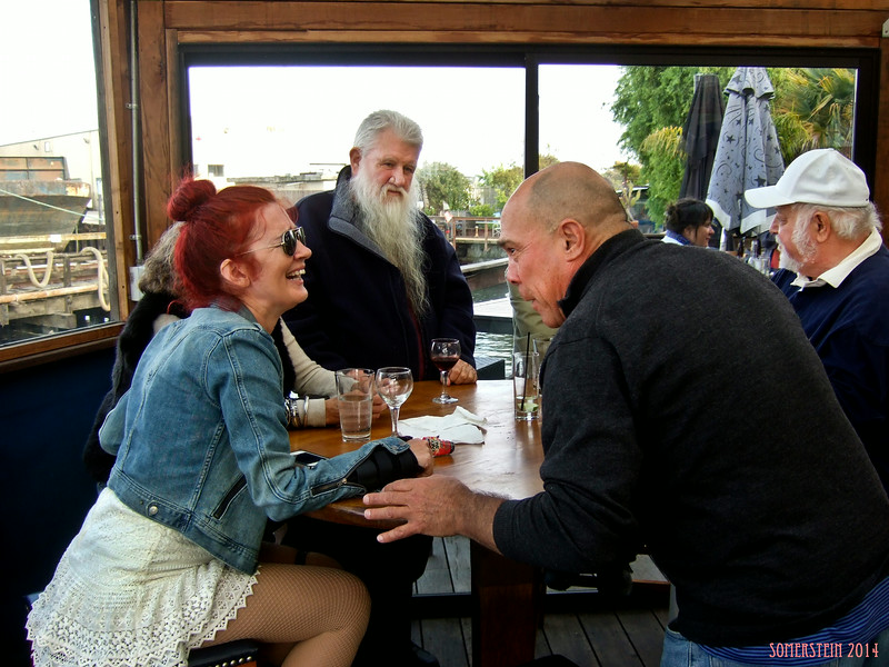 Linda English, left; Ron Turner (publisher), 2nd on left; David Zeff (lawyer), 2nd on right; Robert Altman (photographer), right; - Mark Rennie and his friend Michelle's birthday party at Bayview Boat Club