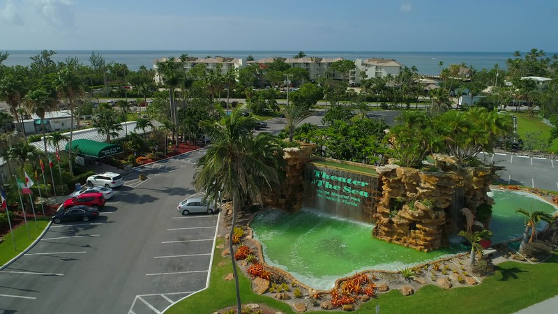 Aerial footage Theater of the sea Islamorada Florida