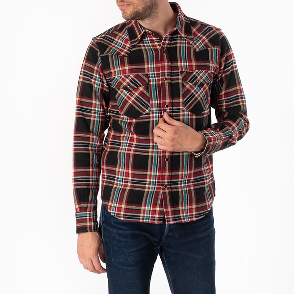 Black Crazy Check Ultra Heavy Flannel Western Shirt-1822.jpg