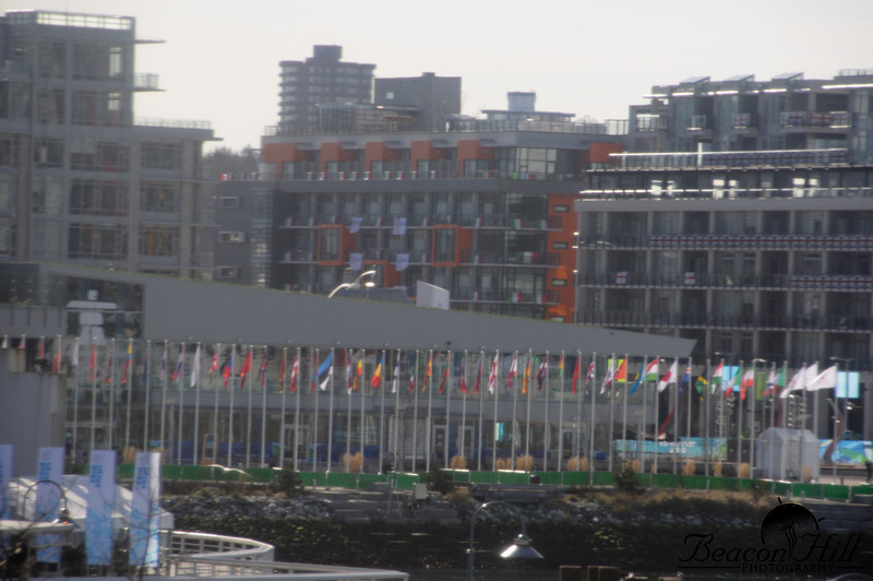 This photograph, taken from the sky train, is the best view of the athlete's village in Vancouver that I could find. I particularly like all of the flags, and the fact that countries put up their own flags on the balconies. Ironically, despite these being the Vancouver games, the athlete's village in Whistler actually had slightly more athletes.
