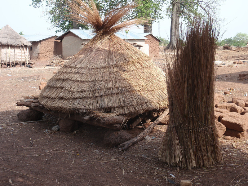 041_Between Tamale and Kumasi. Village Life. Thatch Roof for Sale.jpg