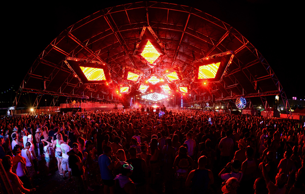 . A general view of the Circuit Grounds stage during a performance by DJs AN21 and Max Vangeli at the 17th annual Electric Daisy Carnival at Las Vegas Motor Speedway on June 23, 2013 in Las Vegas, Nevada.  (Photo by Ethan Miller/Getty Images)