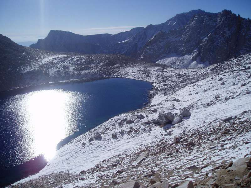 Iceberg Lake with Lone Pine Peak in the background (far left)