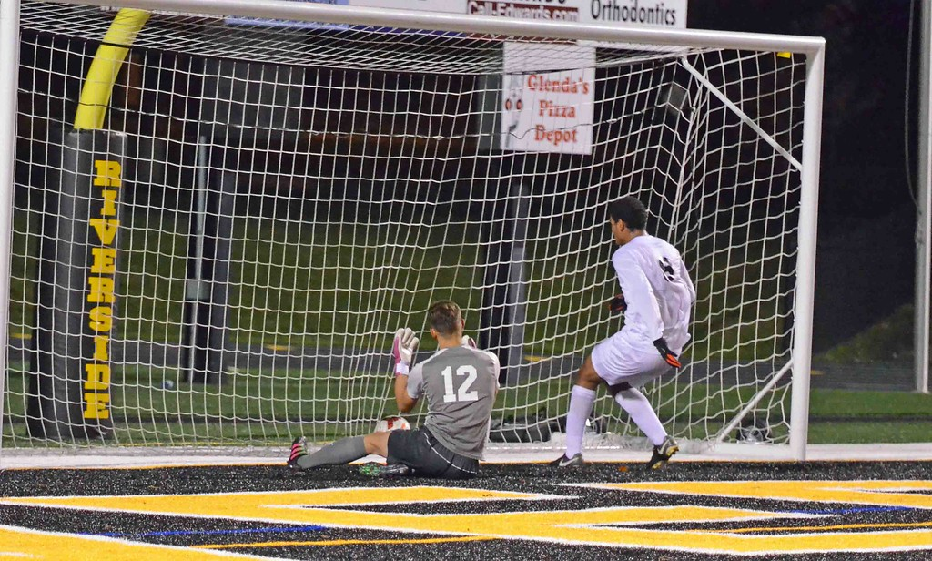 . Paul DiCicco - The News-Herald University\'s George Nageeb looks on after a free kick goal by Griffin Meyer on Oct. 28.