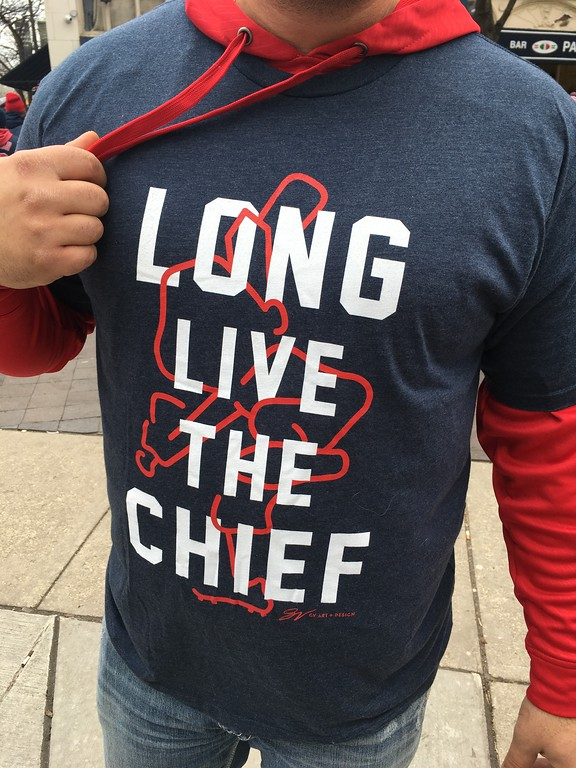 . A fan who said he was playing hookey from work (nop face in the photo, please) shoes his support for Chief Wahoo. David S. Glasier - The News-Herald
