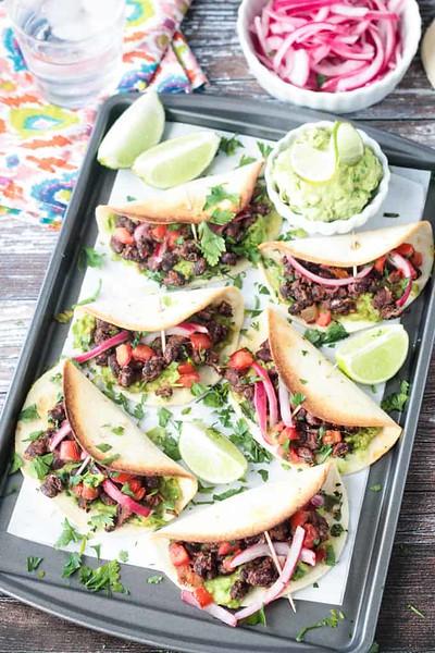 Crunchy Baked Black Bean Mini Tacos - Vegan Mexican recipes
