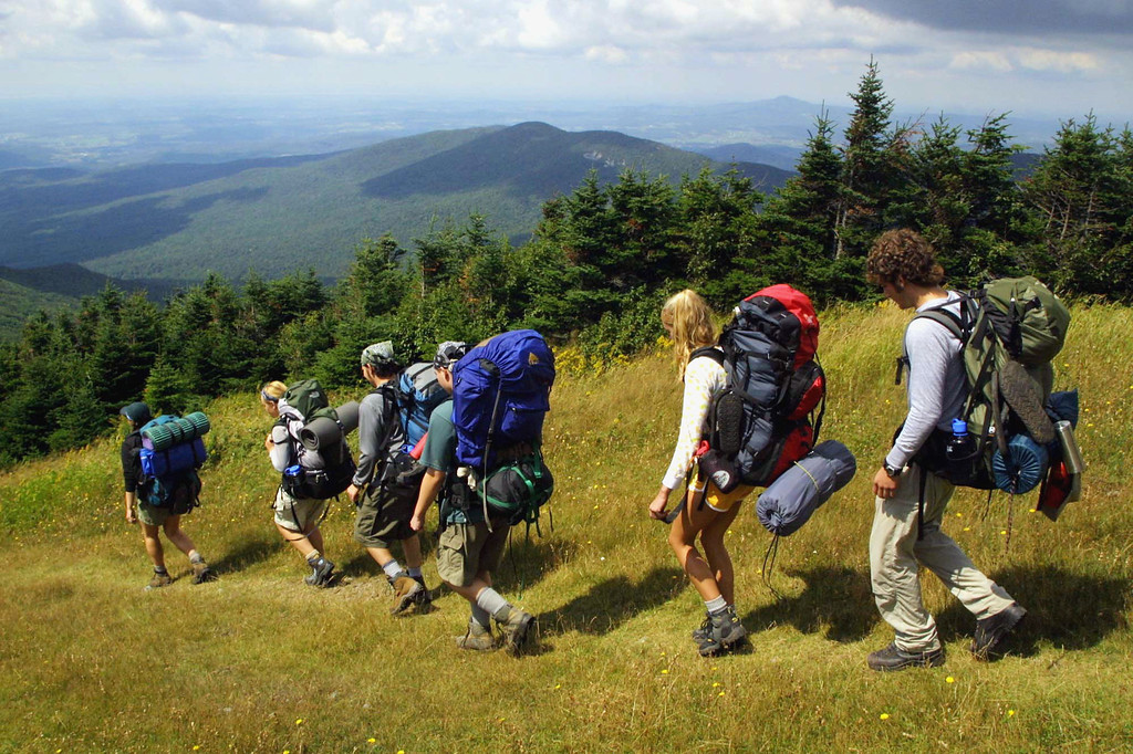 . Vermont # 5.  A group of University of Vermont students backpack over the section of the Long Trail on Jay Peak Resort\'s ski trails in Montgomery, Vt., Wednesday, Aug. 21, 2002. (AP Photo/Alden Pellett)