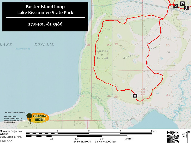 Buster Island Loop Trail Map