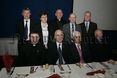 The platform Party at the official opening of St Paul's High school extension, Kevin O'Hara, Vice Principal Anne Mallon, Archbishop Sean Brady, Michael Warde, Fr Dermot Maloney, Principal Oliver Mooney, Donal Flanagan and Fr Sean Larkin. 07W5N8