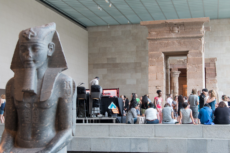 Silent Dance Party at the Temple of Dendur [Everyone wearing headphones, with four different simultaneous DJs] --Metropolitan Museum of Art, New York