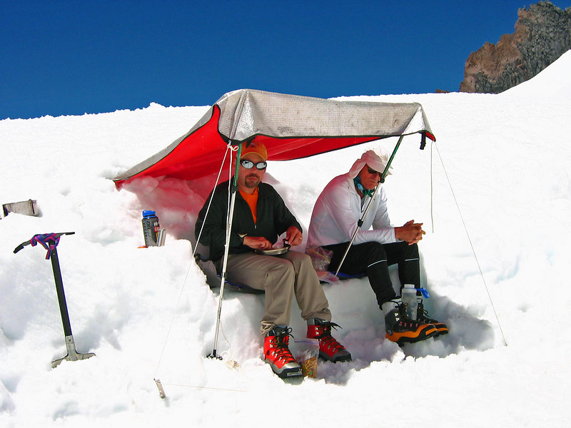 Shelter from the warm sun at Horse Camp (about 10,000 ft.)