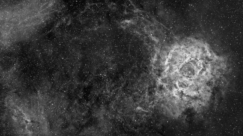 The Rosette Nebula - Wide Field Hydrogen Alpha Luminance Image