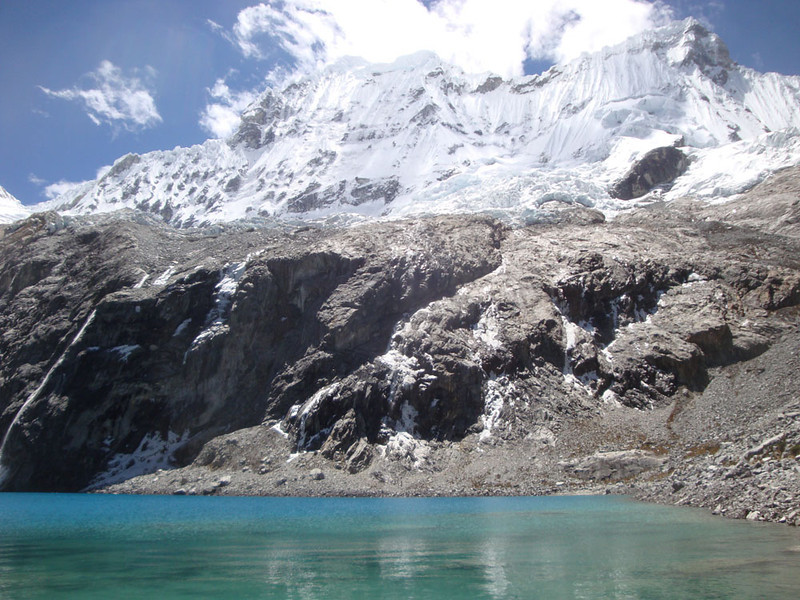 The amazing Chacraraju rises to 6,112 m above the Laguna. These mountains are the world's highest outside of the Himalayas. There are many peaks above 6,000 m here.