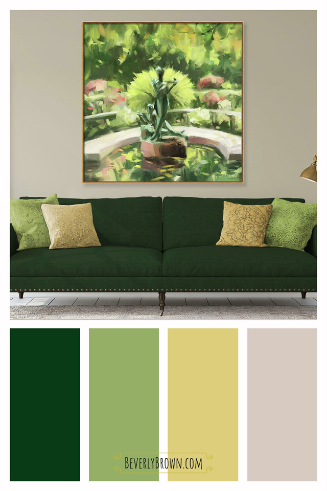 Olive Green and Gold Living Room Color Scheme with Central Park Wall Art