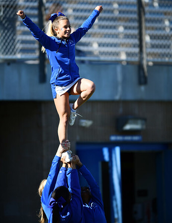 10/26/2019 Mike Orazzi | Staff CCSU cheerleaders during Saturday's football game with LIU in New Britain.