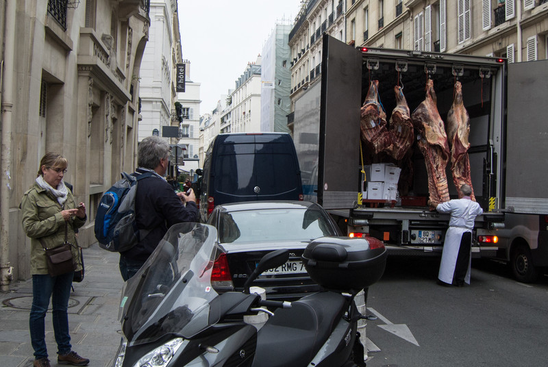 Fresh meat being delivered to a shop