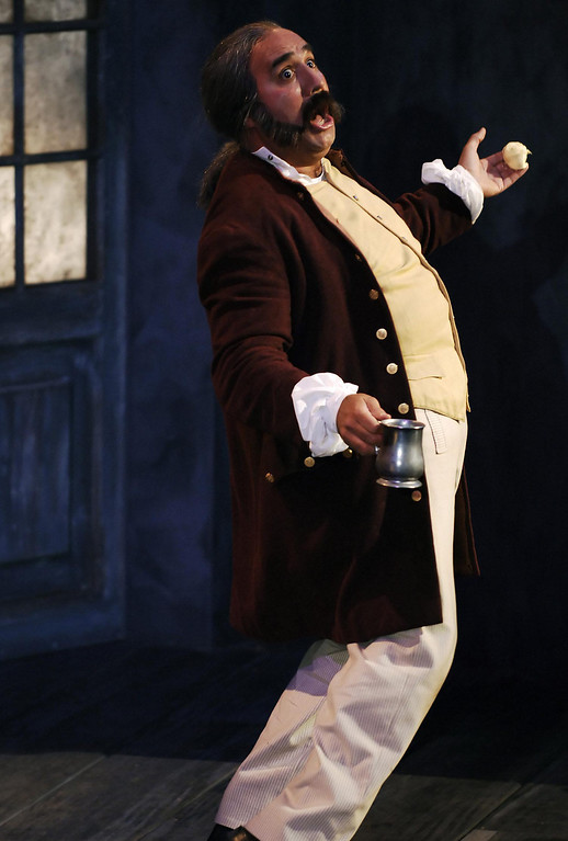 ". Tommy A. Gomez as Sir Toby Belch  in Shakespeare Santa Cruz\'s 2005  production of ""Twelfth Night.\"" (Photo courtesy of Steve DiBartolomeo.)"