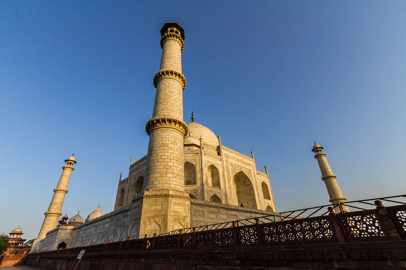 A Steep, Low Angle Of The Taj Mahal in Morning Light, White Version, Agra, India, Asia