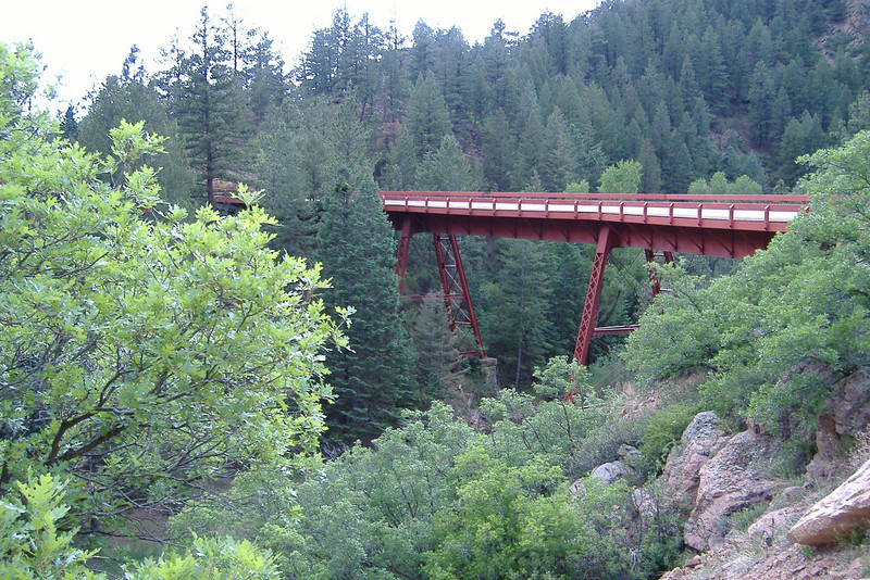 Wood-decked bridge on Phantom Canyon Road.