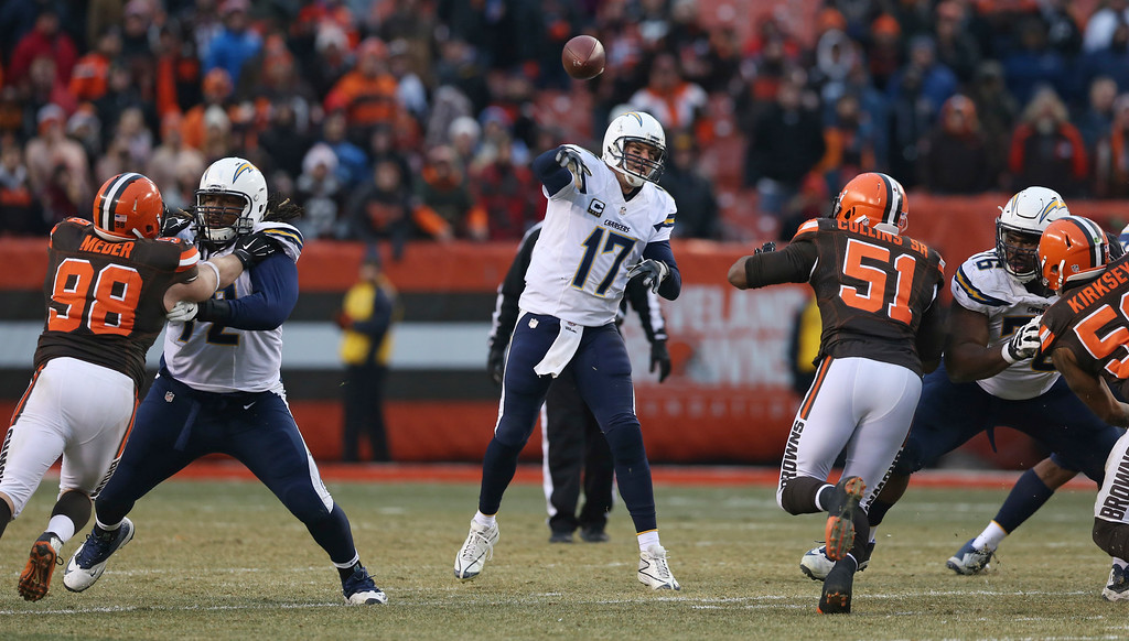 . San Diego Chargers quarterback Philip Rivers (17) passes in the second half of an NFL football game against the Cleveland Browns, Saturday, Dec. 24, 2016, in Cleveland. (AP Photo/Aaron Josefczyk)