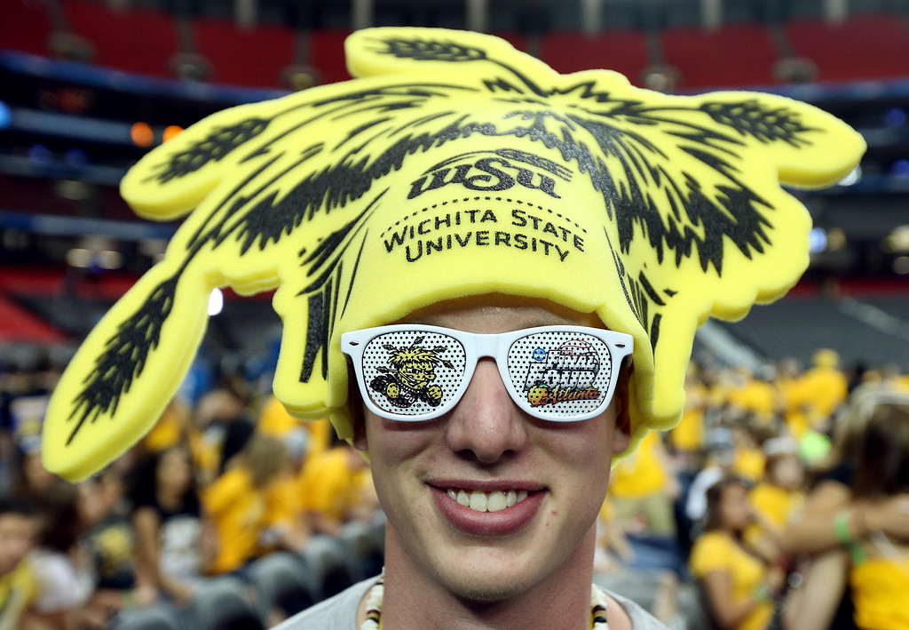 . ATLANTA, GA - APRIL 06:  Tim Eiehler, a Wichita State Shockers fan, poses before the Shockers take on the Louisville Cardinals in the 2013 NCAA Men\'s Final Four Semifinal at the Georgia Dome on April 6, 2013 in Atlanta, Georgia.  (Photo by Andy Lyons/Getty Images)
