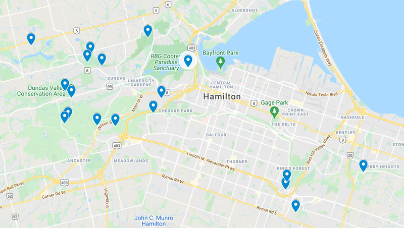 Hamilton Hiking Trails Map