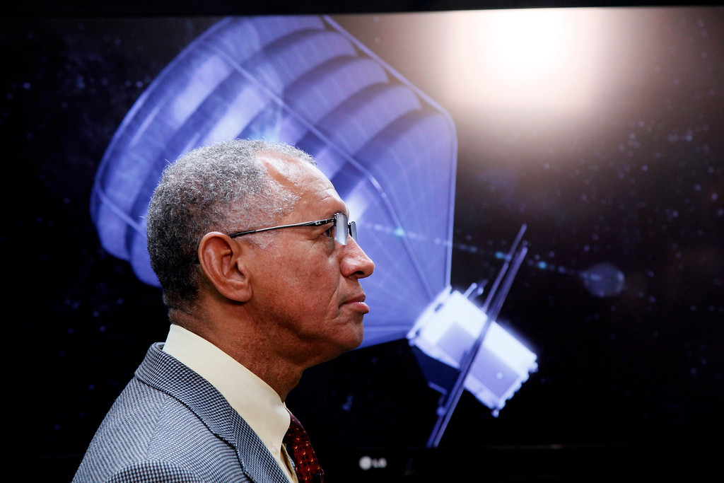 . NASA Administrator Charles Bolden visits to the Jet Propulsion Laboratory in Pasadena, Calif., on Thursday, May 23, 2013. Bolden inspected a prototype spacecraft engine that could power an audacious mission to lasso an asteroid and tow it closer to Earth for astronauts to explore. Bolden\'s visit comes a month after the Obama administration unveiled its 2014 budget that proposes $105 million to jumpstart the mission, which may eventually cost more than $2.6 billion.  (AP Photo/Nick Ut)