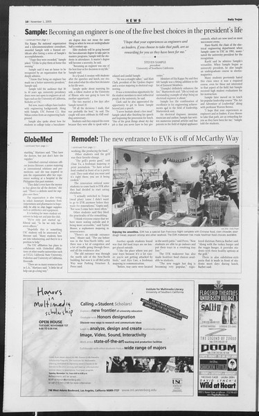 Daily Trojan, Vol. 156, No. 50, November 01, 2005
