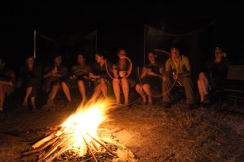 Safari campfire, Tanzania