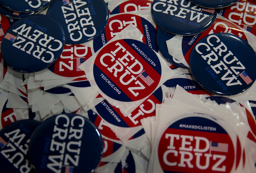 . Sen. Ted Cruz, R-Texas stickers and buttons to be handed out by supporters are seen on a table during the Conservative Political Action Conference (CPAC) in National Harbor, Md., Friday, Feb. 27, 2015. (AP Photo/Carolyn Kaster)